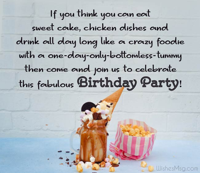 Funny birthday party invitation messages