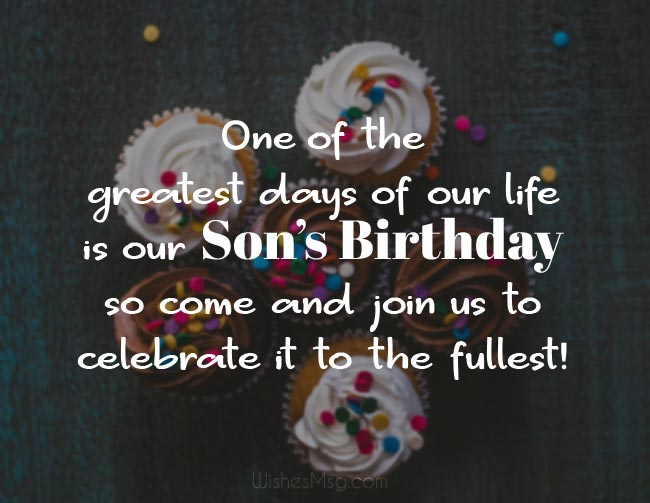 Wording of the son's birthday invitation