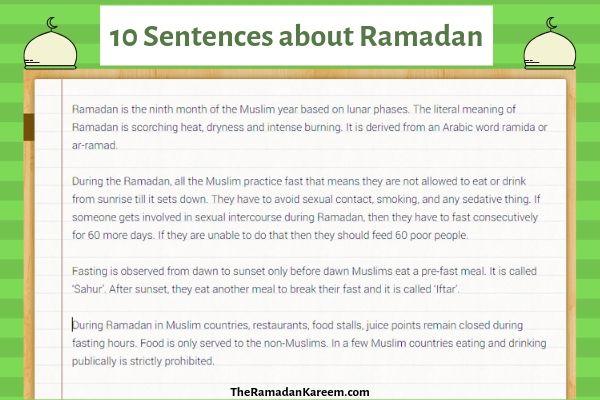 10 Sentences about Ramadan 2019