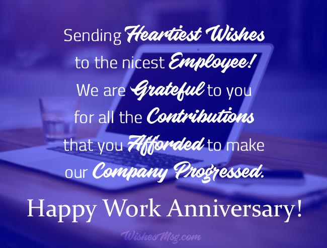Work Anniversary Messages for Employees