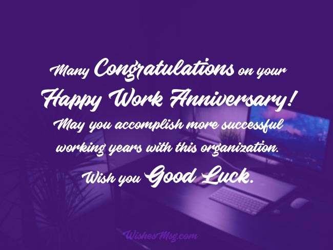 Work Anniversary Wishes and Appreciation Messages 1