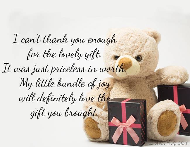 Thank you message for a birth gift