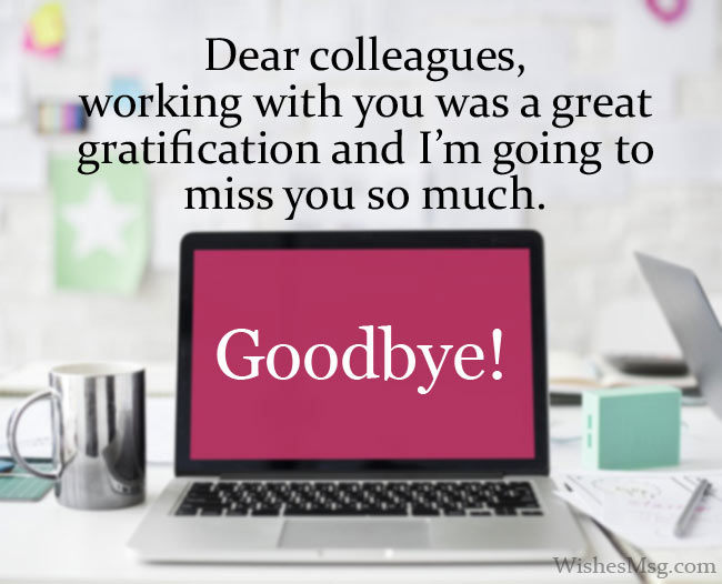 Farewell messages to colleagues when they leave work