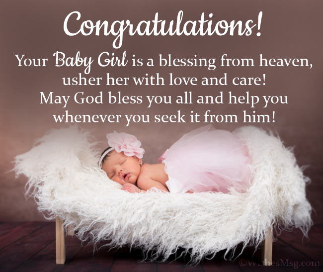 Congratulatory card message for a new baby