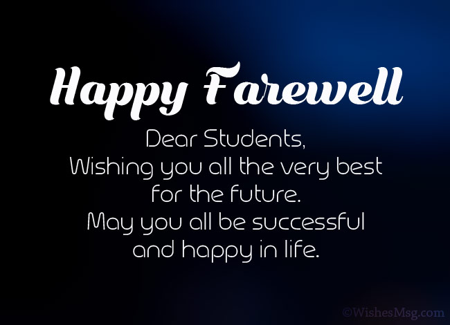 Farewell wishes for the students of the teacher