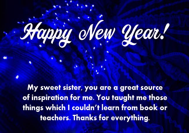 Happy New Year Messages for Sister