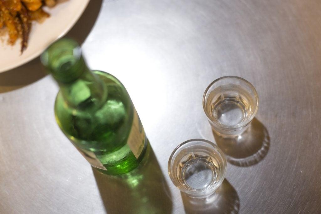Soju bottle and glasses
